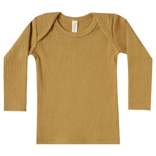 Ribbed Long Sleeve Lap Tee, Ochre
