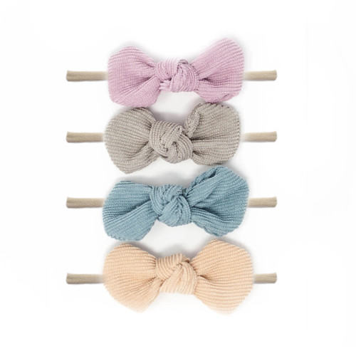 Nylon Headband Bow Set, Pastels