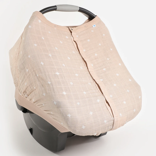 Muslin Car Seat Canopy, Taupe Cross