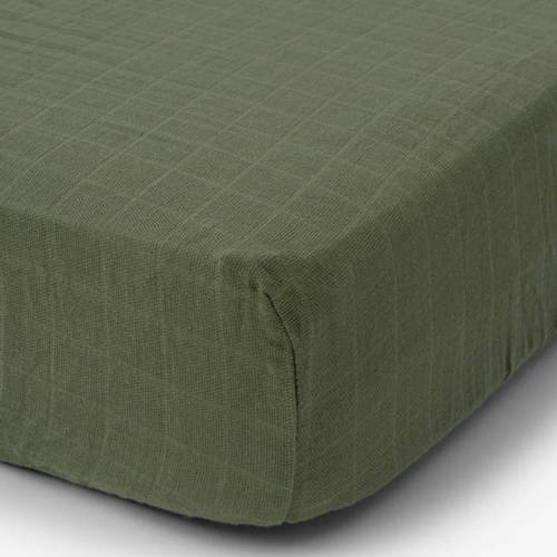Muslin Fitted Crib Sheet, Fern