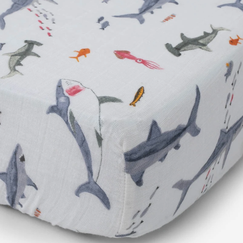 Muslin Fitted Crib Sheet, Shark