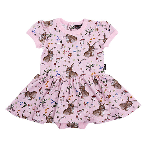 Short Sleeve Waisted Dress, Cotton Tail