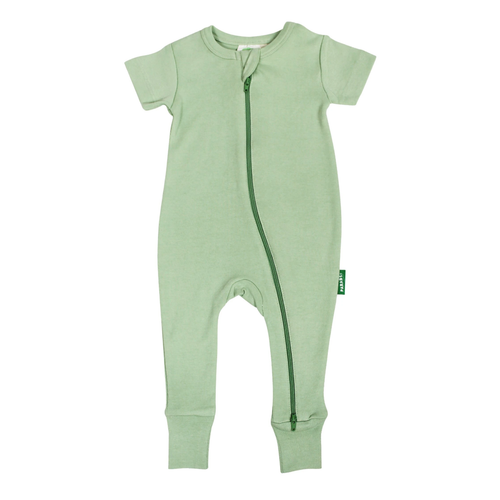 Organic Short Sleeve Zip Romper, Aloe