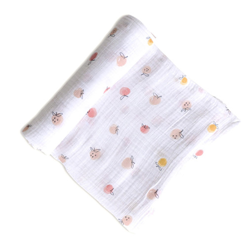 Organic Cotton Swaddle, Strawberry Fields