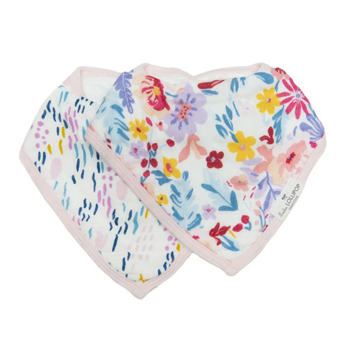 Muslin & Terry Cloth Bib Set, Light Field Flowers