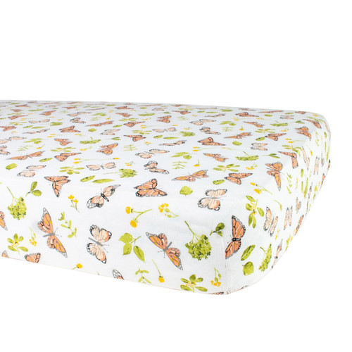 Muslin Crib Sheet, Butterfly