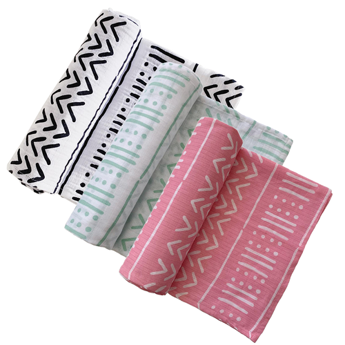 Muslin Swaddle 3-Pack: White, Seafoam, & Pink Mudcloth