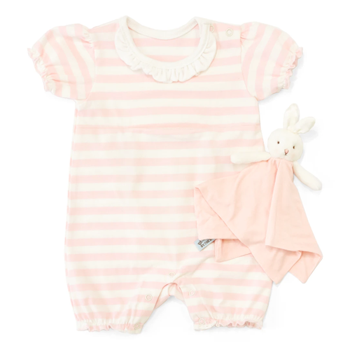 Pink Stripe Romper with Bunny Lovey