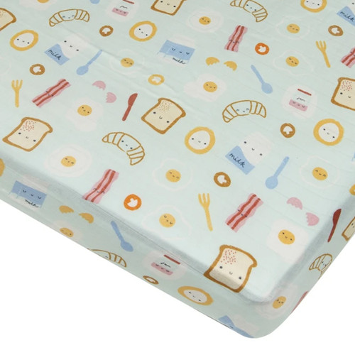 Muslin Crib Sheet, Breakfast Blue