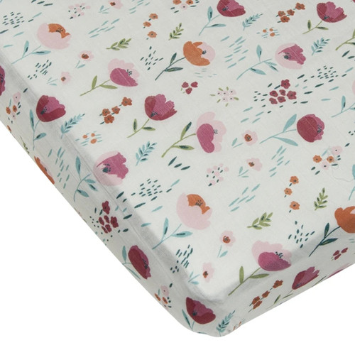 Muslin Crib Sheet, Rosey Bloom
