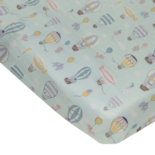 Muslin Crib Sheet, Up Up Away