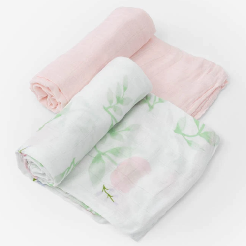 Deluxe Muslin Swaddle Set, Blush Peony