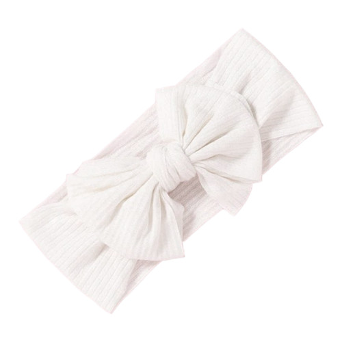 Ribbed Knot Bow, White
