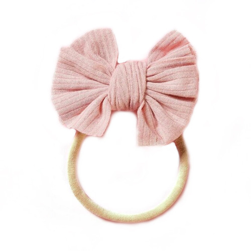 Ribbed Skinny Bow, Blush