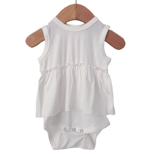 Sleeveless Skirted Bodysuit, Cloud White