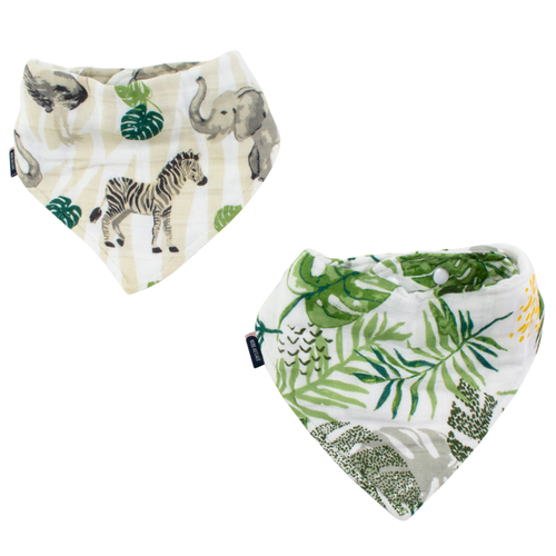 Muslin Bandana Bib Set, Jungle + Rainforest