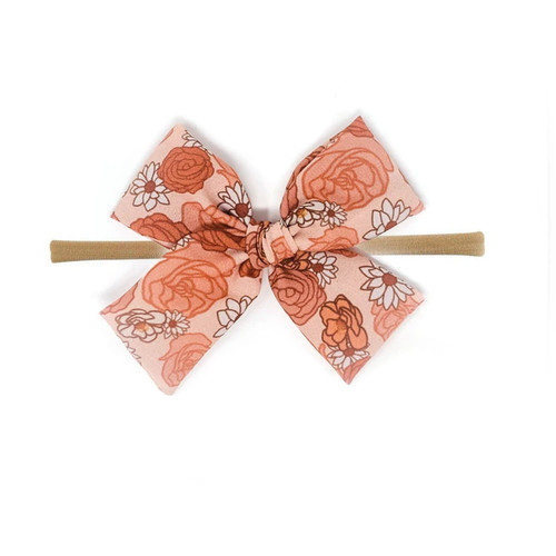 Nylon Headband Bow, Rose Floral
