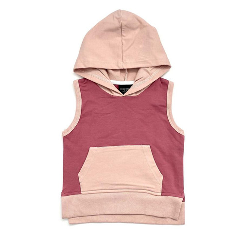 Sleeveless Hoodie, Dusty Rose