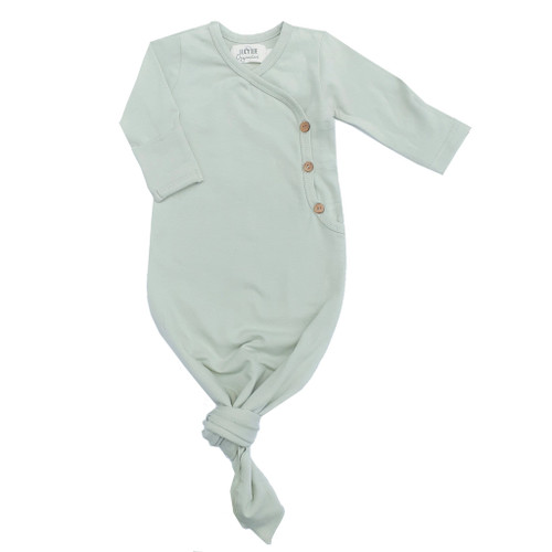 Organic Kimono Knotted Gown, Minty Sage