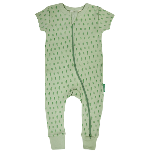 Organic Short Sleeve Zip Romper, Jade Trees