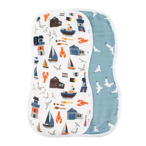 Burp Cloths, Nautical + Seagulls