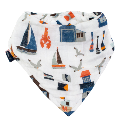 Muslin Bandana Bib, Nautical