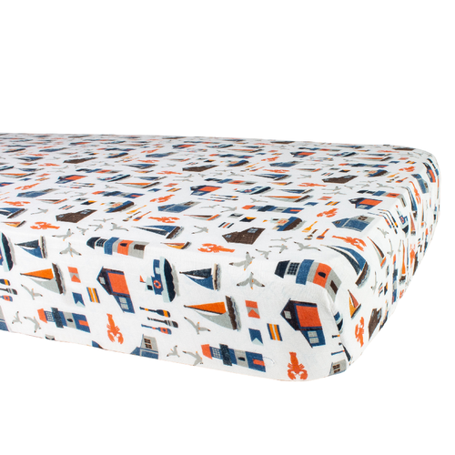 Muslin Crib Sheet, Nautical