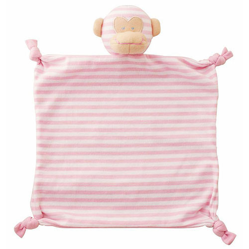 Monkey Security Blanket, Pink Stripe