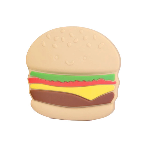Single Silicone Teether, Hamburger