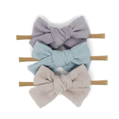 Nylon Headband Bow Set, Fall Sky