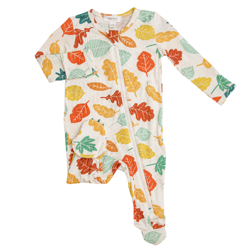 Zipper Footie, Colorful Fall Leaves