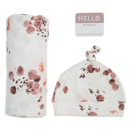 Hat & Swaddle Set, Rose Eucalyptus