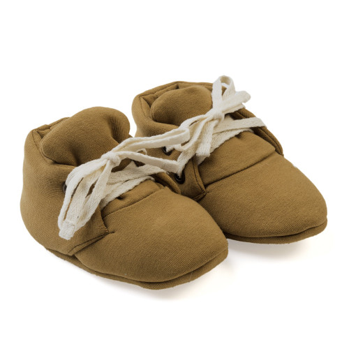 Organic Baby Booties, Curry