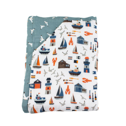 Super Snuggle Blanket, Nautical/Seagulls