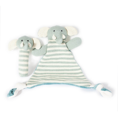 Knit Rattle & Lovie Gift Set, Blue Elephant