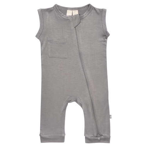 Zipper Sleeveless Romper, Chrome