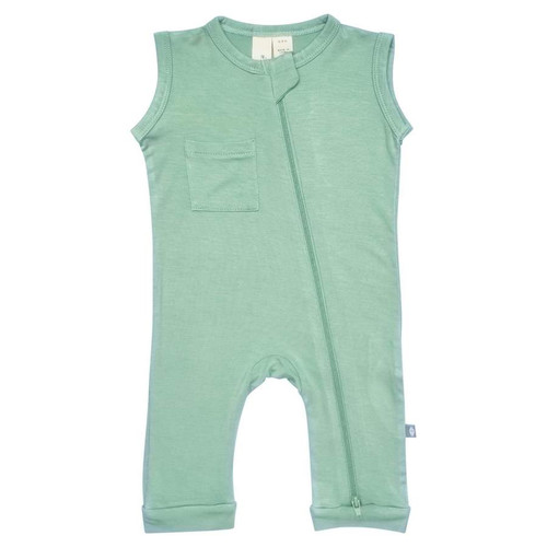 Zipper Sleeveless Romper, Matcha