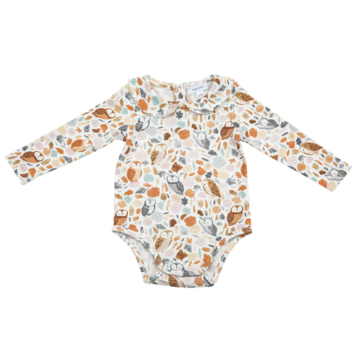 Long Sleeve Bodysuit w/ Peter Pan Collar, Autumn Owls