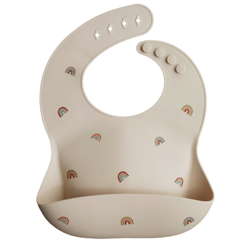 Silicone Baby Bib, Rainbows