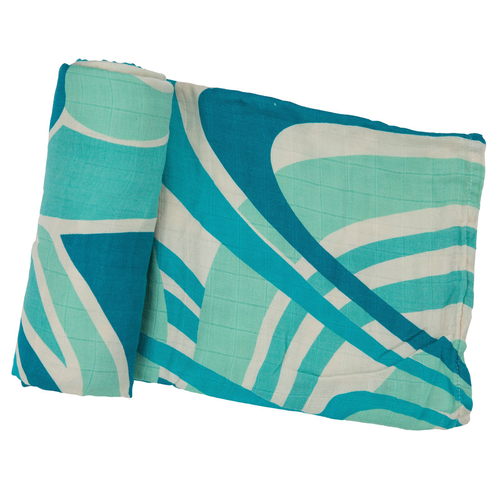 Muslin Swaddle Blanket, Abstract Design Blue