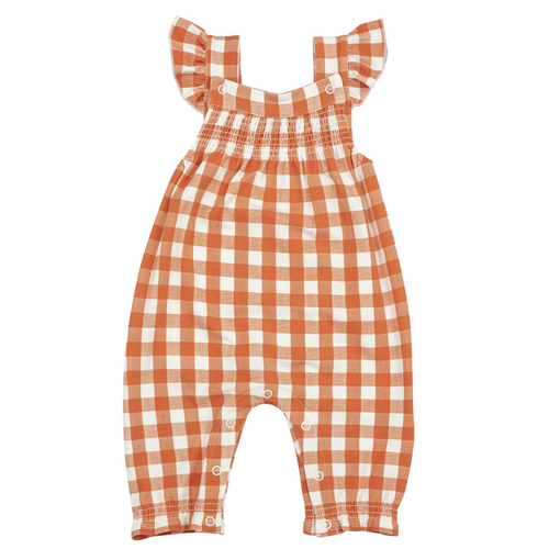 Smocked Coverall, Gingham Pumpkin