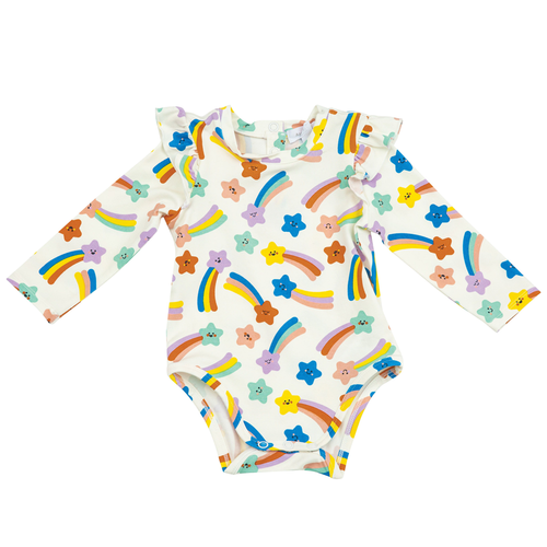 Long Sleeve Ruffle Bodysuit, Shooting Star Multi