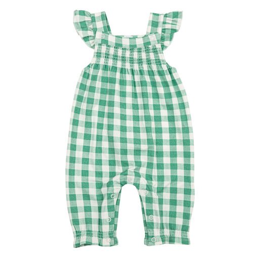 Smocked Coverall, Gingham Green