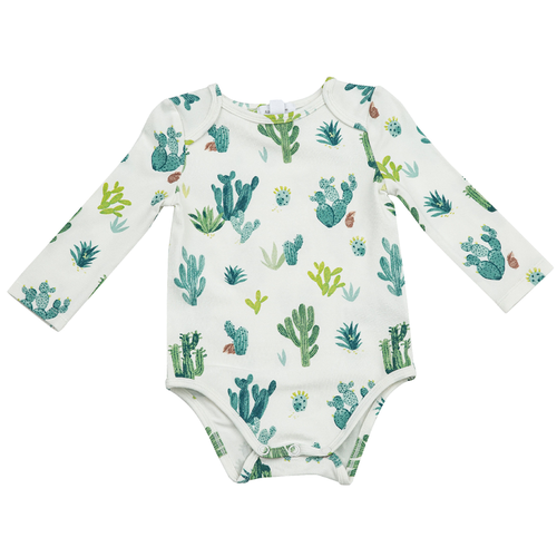 Long Sleeve Bodysuit, Multi Cactus