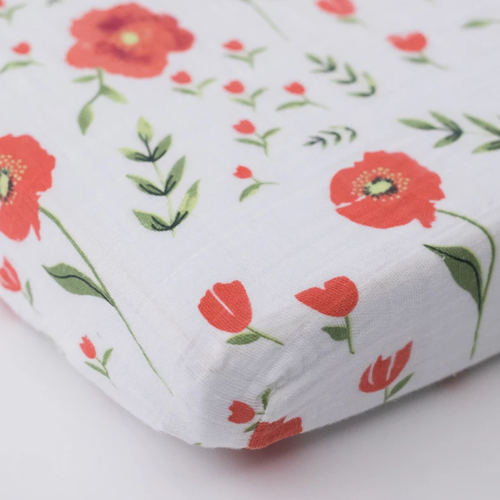 Muslin Mini Fitted Crib Sheet, Summer Poppy