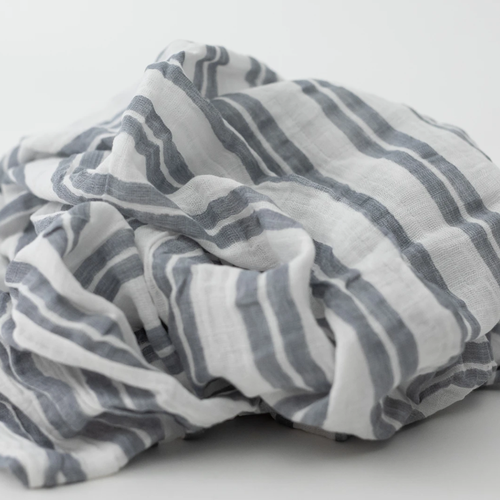 Muslin Swaddle, Double Grey Stripe