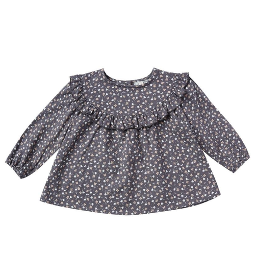 Rylee & Cru Ditsy Victoria Blouse, Washed Indigo