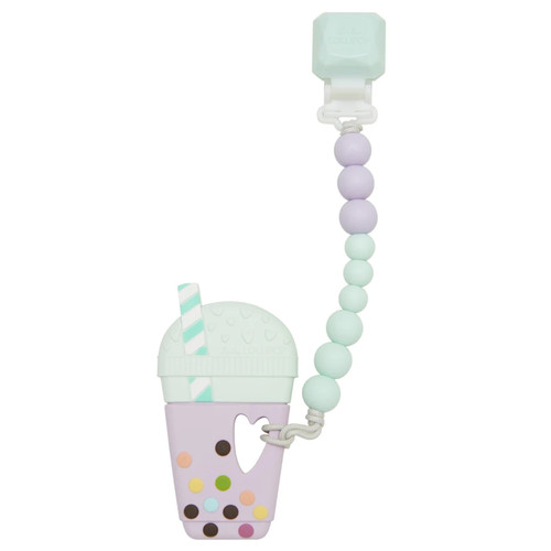 Gem Teether w/ Beads, Bubble Tea Lilac Mint