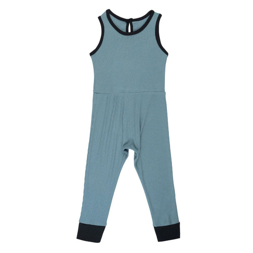 Ribbed Sleeveless Romper, Azure