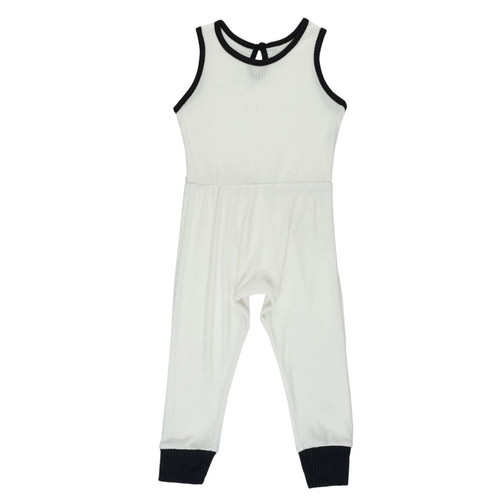 Ribbed Sleeveless Romper, Ivory